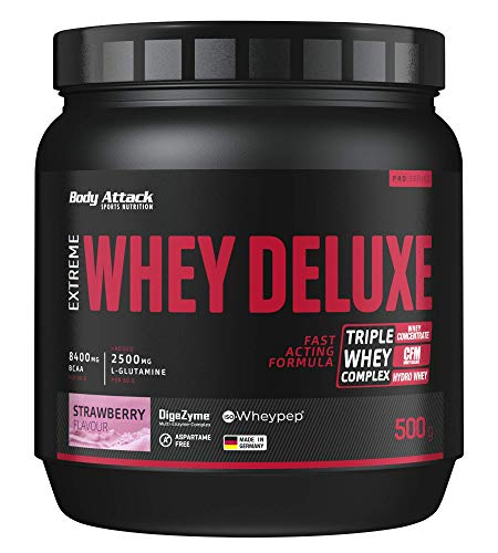 Body Attack Extreme Whey Deluxe, fragola, proteina in polvere con aminoacidi e Triplo-Whey-Complex...