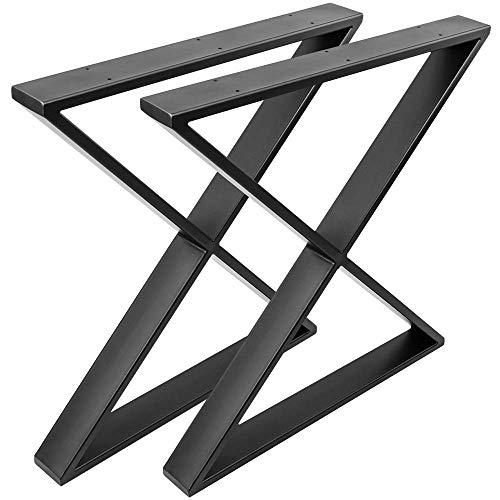 PrimeMatik - Pies en 'X' para Mesa. Patas en Acero Negro 680 x 80 x 710 mm 2-Pack con Base Horizontal