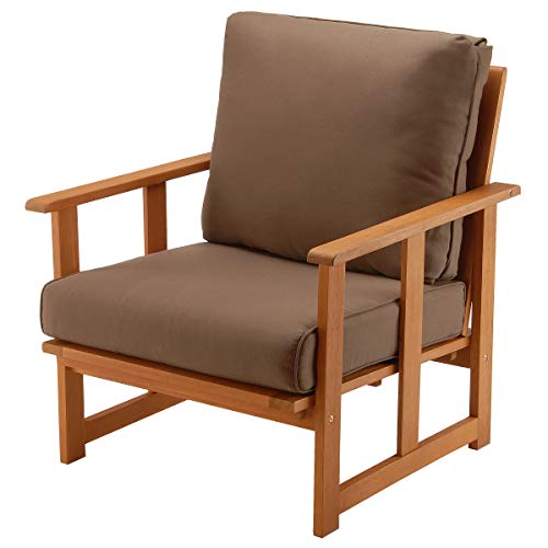 National Outdoor Living Eucalyptus Wood Patio Club Chair with Chocolate Brown Cushions