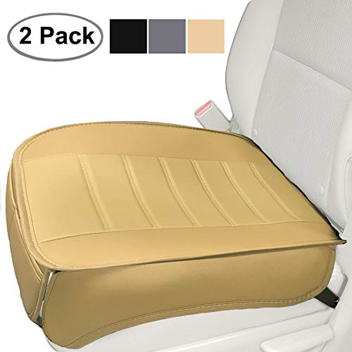 Car Seat Cushion, Edge Wrapping 2PC Car Interior PU Leather Car Seat Cushions Protector Front Car Seat Covers, Single Seat Cushion Cover Pad Mat for Auto Four-door sedan & SUV Driver Seat(Beige)