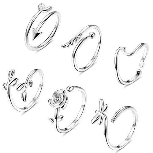 CASSIECA 6 Stücke Kupfer Offenen Verstellbar Ringe für Damen Frauen Wave Rose Feder Vintage Ringe Silber Set Modeschmuck