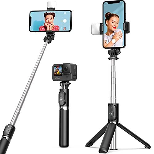 ARTOFUL Bastone Selfie Treppiede con Luci Treppiede Smartphone con Telecomando Wireless Rotazione a 360°Treppiedi Stabile per 4.7-6.7 Pollici Smartphone Gopro/Fotocamera