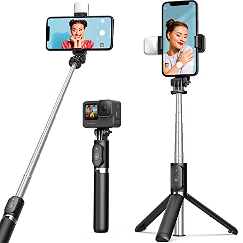 Selfie Stick Tripod with Fill Light ARTOFUL Phone Tripod Stand with Remote Control & 360°Rotation Compatible with iPhone13Pro/13/12pro/12/12mini 11pro/11/XR XS, Android, Gopro, Small Camera for Travel