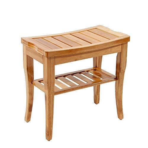 DlandHome Beistelltisch Badezimmer Hocker Tisch mit Regal, Duschsitz/rutschfeste Badewanne für Badezimmer, Bambus