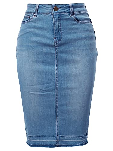 A2Y Slim Fit Rayon Knee Length Back Slit Denim Jean Pencil Skirt Light Navy S