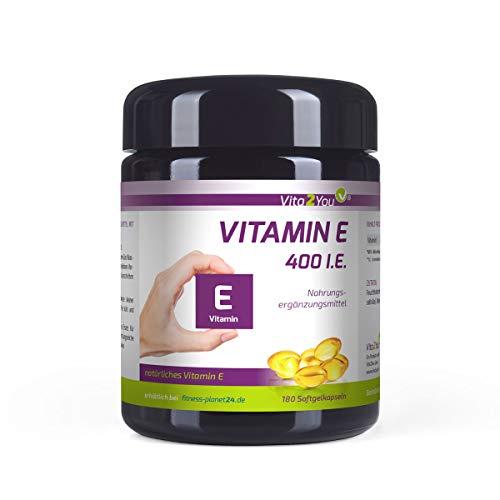 Vitamin E 400 IE - 180 Softgel Kapseln - Natürliches Vitamin E - D-Alpha-Tocopherol - Hochdosiert - Miron Glas - Premium Qualität