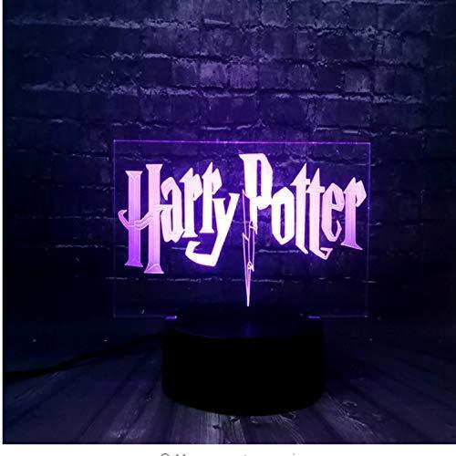 Veilleuse 3D Led Veilleuse Pour Enfant Harry Potter Chambre Sommeil Lumière 7 Changement De Couleur Télécommande Garçon Enfants Jouets Accueil Décoratif Cadeau