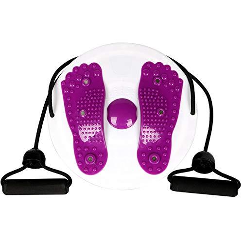 HISROOM Twist Board Fitness Drehscheibe Hüft-Trainer Twist Board Balance Board Massage Drehplatte Mit Zwei Kordeln für Hüften und Taille Fitness und Bewegung Mit Zwei Fitnessseilen,Lila