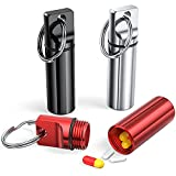 Small Pocket Pill Box Keychain (3 Pack), Aluminium Alloy Portable Mini Pill Organizer Case Container for Purse,Waterproof Metal Pill Holder Medicine Bottle for Outdoor Camping Travel(Black+Silver+Red)
