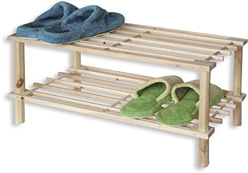 TIENDA EURASIA Zapatero de Madera Natural. Estantería Disponible en 3 tamaños. Diseño Sencillo y Compacto. Ideal para Cualquier rincón de tu hogar. (Natural, 2 Alturas)