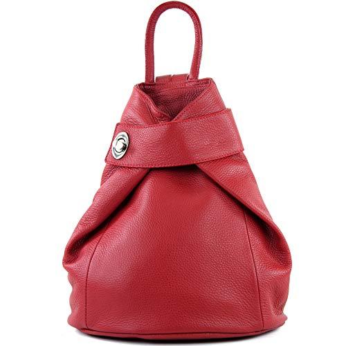 modamoda de - T179 - ital: Damen Rucksack Tasche aus Leder, Farbe:Rubinrot