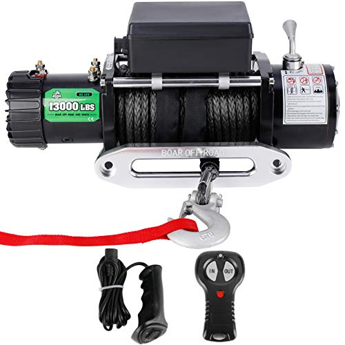 Powersports Winch for Jeep, OFF ROAD BOAR 12V DC Electric Winch Kit for ATV/UTV, 13000Lb Load Capacity IP67 Waterproof Towering Winch with Synthetic Rope, Wireless/Hand Remote Controller