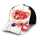 FULIYA Gorra de béisbol estructurada, acuarela pintura amapola flores y brotes artísticos primavera naturaleza diseño papá sombrero se adapta a hombres y mujeres, perfil bajo ajustable