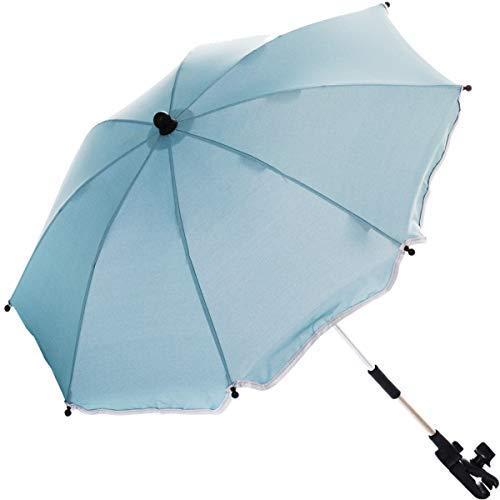 Sonnenschirm für Kinderwagen Buggy und Jogger mit UV SCHUTZ (50) Baby Kind Schirm (Hellblau)
