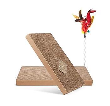 Supremery Planche à gratter pour Chat Set de Remplacement pour Carton à gratter - avec 1x Jouet à Plumes - Jouets pour Chat Meubles à gratter Carton à gratter - 2X XXL - 40 x 23 x 3 cm