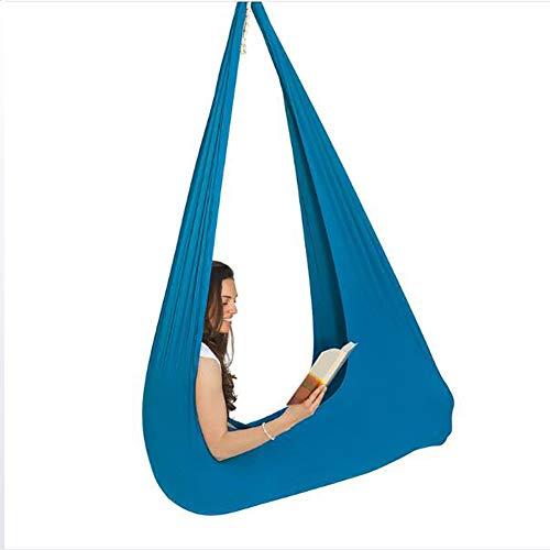 SHARESUN Indoor Therapy Swing voor kinderen met speciale behoeften Lycra Snuggle Swing Knuffel Hangmat voor kinderen met autisme Adhd Aspergers Ideaal voor zintuiglijke integratie tot 165lbs Lichtblauw