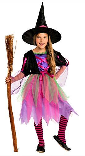 Magicoo Costume Strega Bambina Rosa/Viola/Nero/Verde con Cappello da Strega- Costume Chic Halloween Travestimento Bambina (4-6 Anni)