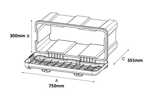 Deichselbox Daken Blackit L 750x300x355mm inkl. Vertikal Halter Werkzeugkasten Anhänger Staukiste - 3