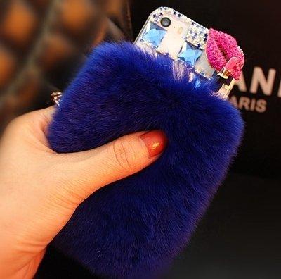 AiKeDuo Funda para iPhone 6, 4.7 pulgadas Bling Crystal Fluffy Cover Winter Wammer hecha a mano suave cristal Caselo Bling Crystal Fur Shell Creative Display (azul oscuro)
