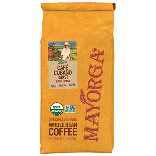 Mayorga Organics Café Cubano Roast, 5lb bag, Dark Roast Whole Arabica Bean Coffee, Specialty-Grade, USDA Organic, Non-GMO Verified, Direct Trade, Kosher