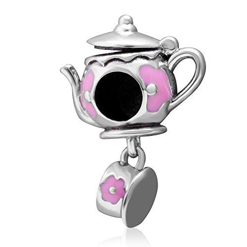 Teekannen-Charm, 925er Sterlingsilber, Tassen-Charm, Familien-Charm, Kaffee-Charm, Liebes-Charm, Blumen-Charm für Pandora-Charm-Armband