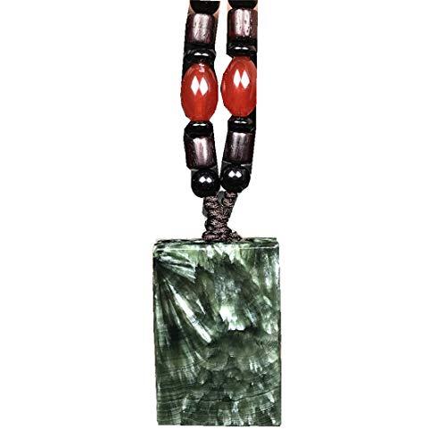 DUOVEKT Collar con colgante de serafinita, piedra natural de cristal de serafinita verde para mujeres y hombres, cuentas de 37 x 25 x 9 mm, cuentas de plata rectangular, joyería de ágata AAAAA.
