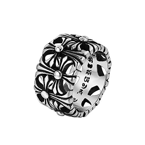 Lucky Meet Anillo vintage punk para hombre, acero inoxidable, estilo gótico, retro, de metal, con calavera de roca, anillo de hip hop, Halloween, Biker Ring Viking Jewelry Gift