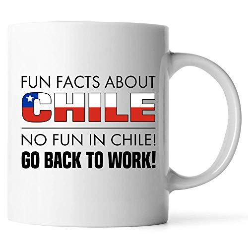 N\A Personalizar Tazas - Datos Divertidos sobre Chile No Hay diversión en Chile Regresar al Trabajo - Regalo para Amigo Compañero de Trabajo Taza de café con Leche
