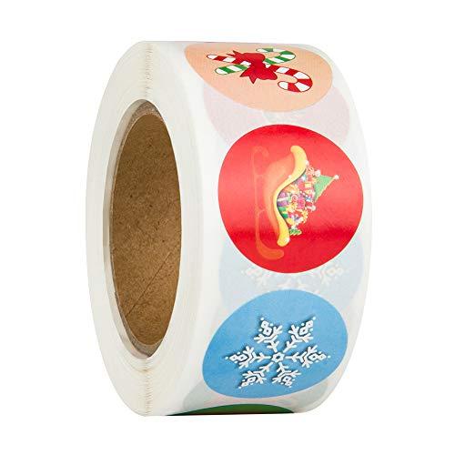 Feliz Navidad pegatinas rollo, 500Pcs Etiqueta Adhesiva Pegatinas redondas, hechas a mano, para Sello Scrapbooking...