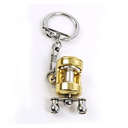 Yanqhua Schlüsselbund Fantasie-Fisch-Rad Schlüsselanhänger Goldfarbe Fliegen-Fischer Spinning Angelrolle Charactor Miniatur-Schlüsselanhänger mit Schlüsselring (Color : Gold)