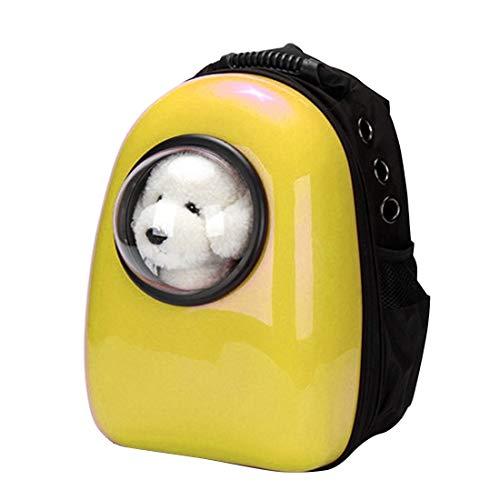 Tuzi Qiuge Tragbare Haustier-Spielraum-Fördermaschine-Rucksack, Raumkapsel Haustier-Katze-Rucksack, wasserdichter Reise Knapsack for Hund und Katze (Color : Yellow)