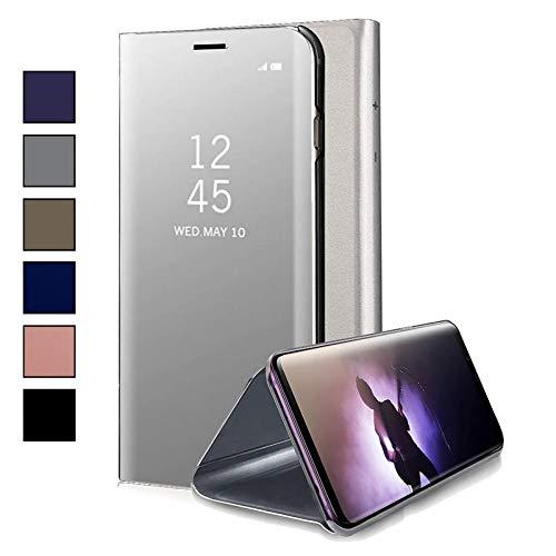 COOVY® Funda para Samsung Galaxy Note 4 SM-N910 / SM-N910F / SM-N9100 Aspecto metálico, armazón, Lujosa, Ventana de Espejo Transparente, visión Clara, Soporte | Color Lata