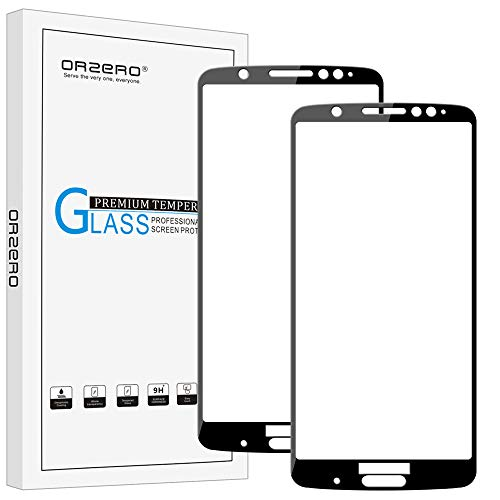 (2 Pack) Orzero for Motorola Moto G6 Plus Tempered Glass Screen Protector, 2.5D Arc Edges 9 Hardness HD Anti-Scratch Full-Coverage (Lifetime Replacement)