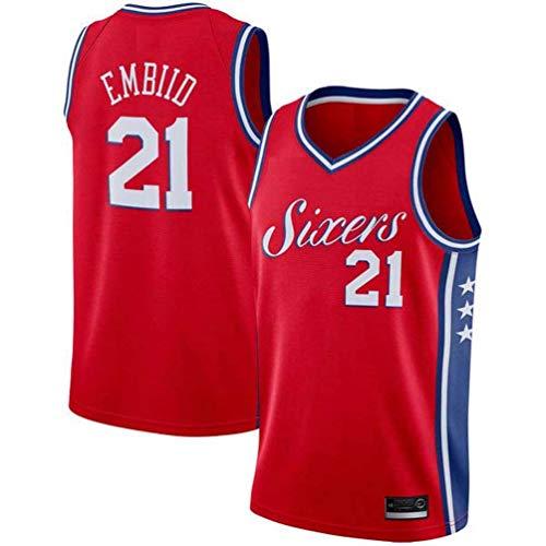 LAMBO Herren NBA Basketball Trikot Philadelphia 76ers NO.21 Joel Embiid Saison 2019-2020 Saison Basketball Swingman Trikot für Herren Ärmellose Sporthemden (Red,XL)