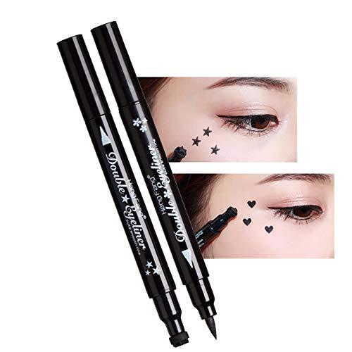 4 IN 1 Dual-ended Eyeliner Stamp, Waterproof Long Lasting Heart Star Shape Stamps Tattoo Eyeliner Makeup Tools, 2Pcs/Set