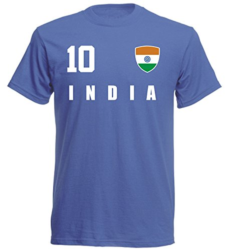 aprom - Indien Kinder T-Shirt Trikot ALL-10 Blau - WM 2018 Fußball (164)