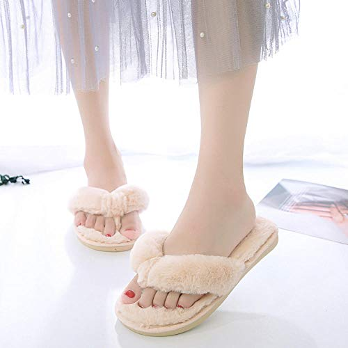 ENLAZY Winter Plüsch mit dickem Boden Furry Faux Fur Flip-Flops zu Hause Baumwollhausschuhe Open Toe Hausschuhe für Mädchen Frauen, cremeweiß, 36-37
