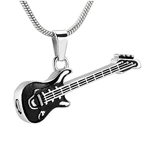 Wxcvz Colgante para Conmemorar Collar De Cremación De Instrumentos Musicales para Mujeres Y Hombres Collar De Urna De Guitarra De Vidrio para Cenizas