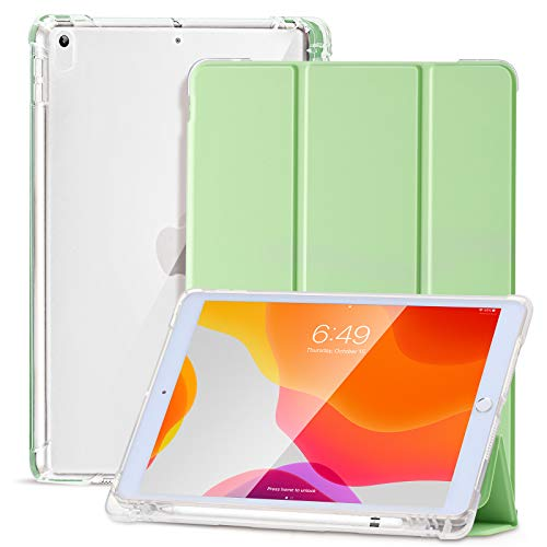 SIWENGDE Case for iPad 10.5 Inch Air (3rd Gen) 2019/iPad Pro 10.5 Inch 2017, Slim Soft TPU Translucent Frosted Back Protective Cover for iPad Air with Pencil Holder, Auto Sleep/Wake-Matcha green
