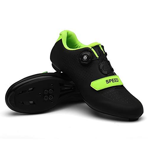 tangjiu Zapatos De Bloqueo De Bicicleta De Carretera Unisex, Bicicleta De Montaña con Taco Exterior Bicicleta Transpirable Zapatos Giratorios, Adecuados para Senderismo Y Ciclismo (Negro,44)