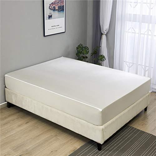 IKITOBI Lujosa sábana bajera ajustable de alta calidad de percal teñida de fácil cuidado, súper suave, 138 x 190 cm + 30 cm