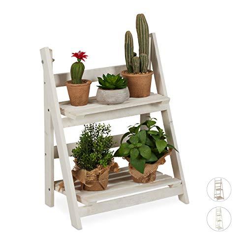 Relaxdays Blumentreppe, für innen & Balkon, Shabby-Chic Design, freistehend & klappbar, HBT: 51x41x25 cm, 2 Stufen, weiß