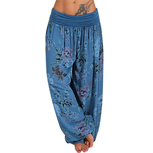 Muyise Damen Plus Size Haremshose Mit Gesmoktem Bund Print Lose Beiläufige Elastische High Waist Weitehose Yoga Hosen Travel Lounge Pants Freizeithose Trousers (Blau,M)