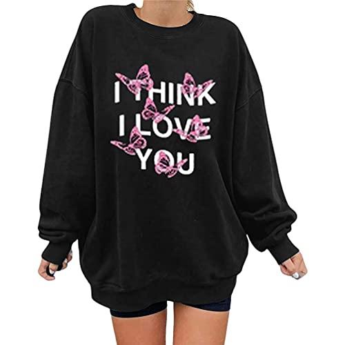 Greetuny Suéter suelto para mujer, cuello redondo, manga larga, estampado de mariposas y letras, Negro, M