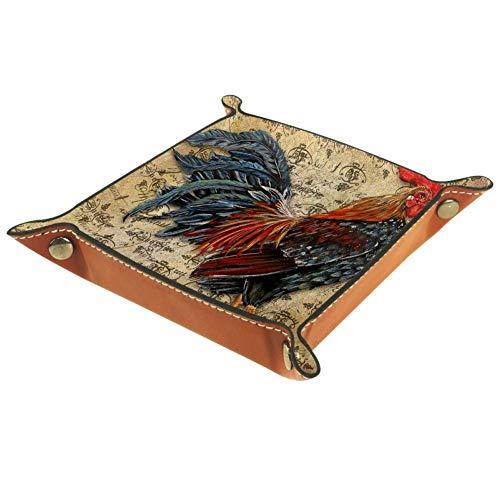 Eslifey Bandeja organizadora de almacenamiento con diseño de gallo vintage, bandeja para llaves, mesita de noche, bolsa de piel de microfibra, 16 x 16 cm