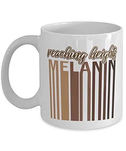 N\A Reaching Heights Melanin Black History Taza de café de cerámica Blanca de 11 oz