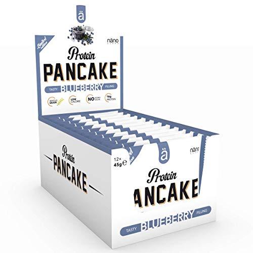 Nanosupps ä Protein PANCAKE Protein Snack - HIGH PROTEIN LOW CARB - LOW SUGAR Fitnessriegel - Leckerer Fitnesssnack - Eiweißriegel für Diät - Ohne Zuckerzusatz und KALORIENARM - 12 Pancakes Blueberry