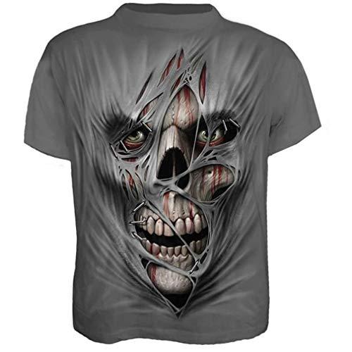 Camiseta de manga corta para hombre con impresión 3D, diseño de calavera Ry071. XXXL