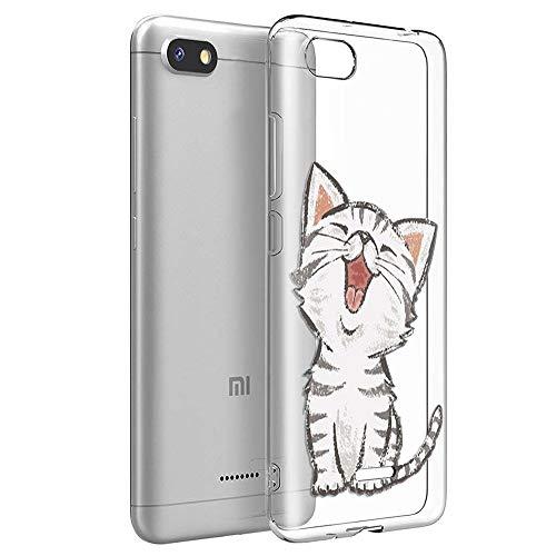 ZhuoFan Cover Xiaomi Redmi 6A, Custodia Cover Silicone Trasparente con Disegni Ultra Slim TPU Morbido Antiurto 3d Cartoon Bumper Case Protettiva per Xiaomi Redmi 6A (Gatto Sorridente)