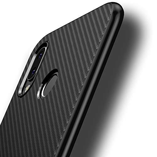 Losvick Cover Compatibile con Huawei P20 Lite, Ultra-Sottile TPU Silicone Morbida Custodia Fibra di Carbonio Anti-graffio Anti-Scivolo Antiurto Protettiva Bumper Case per Huawei P20 Lite - Nero
